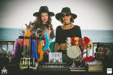Camille and Meg rocking out at the Top pop-up shop