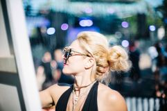 One of our favourite artists, Jessica Gorlicky, wearing Top sunnies and suede wrap necklace